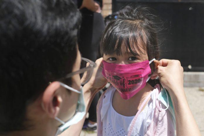 Photo of child putting on virus mask