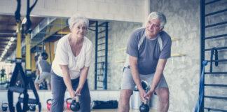 Photo of older couple exercising