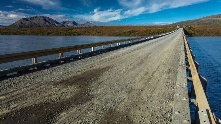 Phto of a bridge and landscape in Alaska